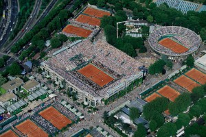 Aerial View of Roland Garros Tennis Stadium and Grounds, Paris
